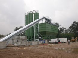 3 x Monolithic Vertical Cement Silos 57m³ + Inline Aggregate Storage Hopper + Belt Conveyor