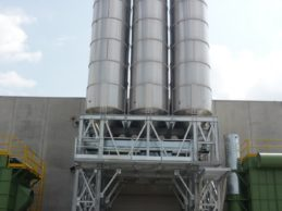3 x Monolithic Vertical Cement Silo 57m³ (Stainless Steel) with Structure
